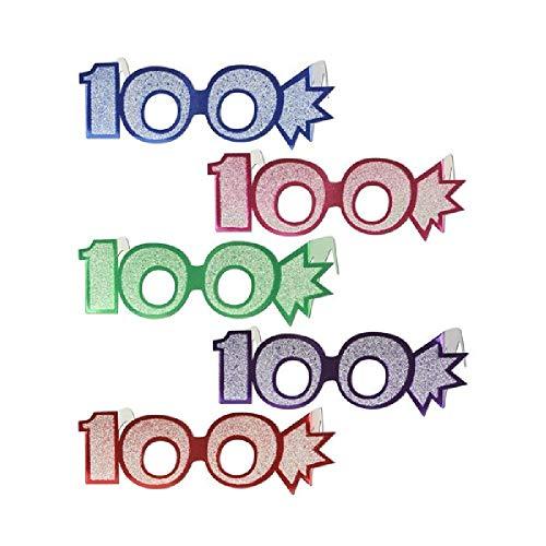 (Bargain World 100th Glittered Eyeglasses (1/pkg) (with Sticky Notes))