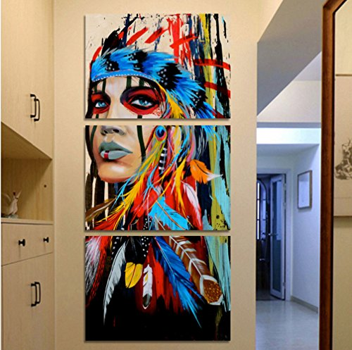 Price comparison product image Be Good 3 Panel Wall Art Native American Girl Modern Indian Feathered Women Prints On Canvas Pictures for Living Room Bedroom Home Decor or Hotel Office Decor Decoration Gift Piece 12x20 Inch