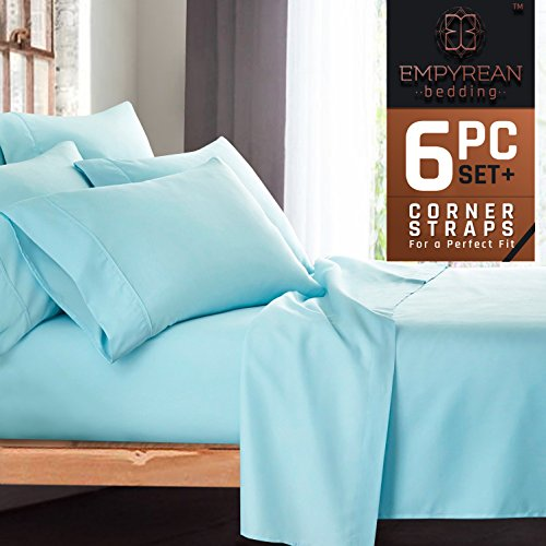Premium 6-Piece Bed Sheet & Pillow Case Set – Luxurious & Soft Full (Double) Size Linen, Extra Deep Pocket Super Fit Fitted Aqua Light Blue (Double Bedding Set)
