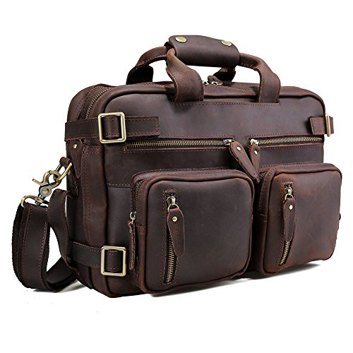 10945d629c9b Tiding Men s Genuine Leather Convertible Backpack 14 Inch Expandable  Shoulder Bag Computer Briefcase