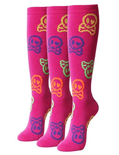 OSABASA KNEE HIGH Socks Classic Skull Crossbones PINK (KWMS0385) (Skull Knee Pink Socks)