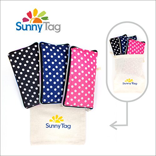 Sunny Tag Foldable Reusable Eco friendly Wallet Style Grocery Shopping Travel Bag Tote Pack of 3 Polka Dots Pink Navy Black Water repellent, Washable, Hold up to 33 LBS or - Sunnies Zipper Von