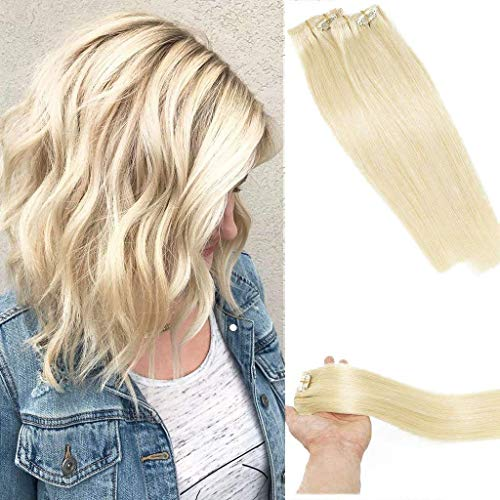 Vario Clip in Hair Extensions Human Hair Double Weft Brazilian Hair 15 Inch Platinum Blonde 7pcs 70g Set Silky Straight Top Grade 7A 100% Real Remy Human Hair Clip on Hair Extensions for women