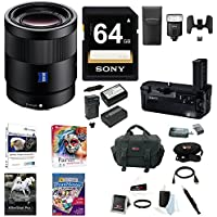 Sony 55mm F1.8 Sonnar T FE ZA Lens, HVLF32M Flash, VGC2EM Battery Grip Bundle