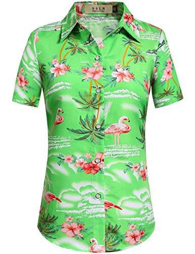 746530e67 Galleon - SSLR Women's Flamingos Floral Casual Short Sleeve Hawaiian Shirt  (Medium, Green)