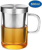 ecooe 500ml Glas Tasse mit Edelstahl sieb und Deckel Teeglas Teebecher aus Borosilikat Teetasse