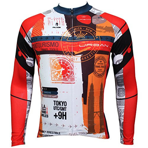 QinYing Men Patterns Breathable Long Sleeve Biking Cycling Jersey Top Orange L