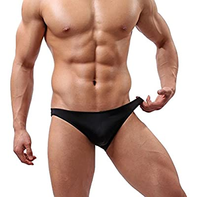 YiZYiF Men's Black Leather Like Buckled Pouch Bikini G-String Underwear Swimwear