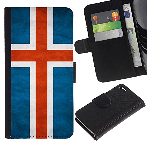 EuroCase - Apple Iphone 4 / 4S - Iceland Grunge Flag - Cuir PU Coverture Shell Armure Coque Coq Cas Etui Housse Case Cover