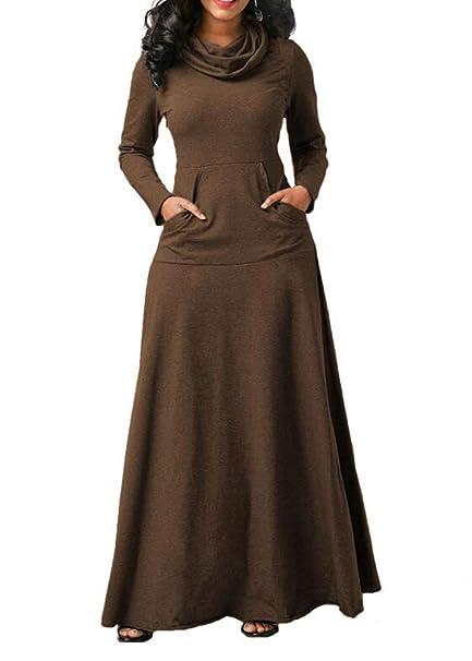 Bingotrade Mujeres Vestido Casual de Cuello Alto con Bolsillo: Amazon.es: Ropa y accesorios