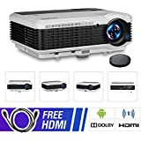 LCD Video Projector Bluetooth Android 6.0, Wxga 3900lumen Multimedia HD 1080P Support HDMI Wireless Screen Mirroring Apps Smart Home Theater Cinema Projector for Gaming Outdoor Movie Party Karaoke Art