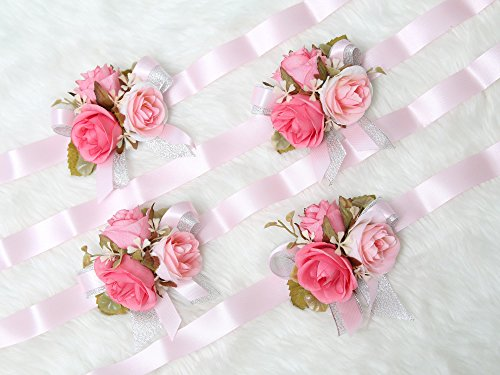 Gorgeous wrist corsage flowers for Wedding Bridal Bridesmaid Ceremony (Pack of 4)(Pink Theme) from Secret Garden