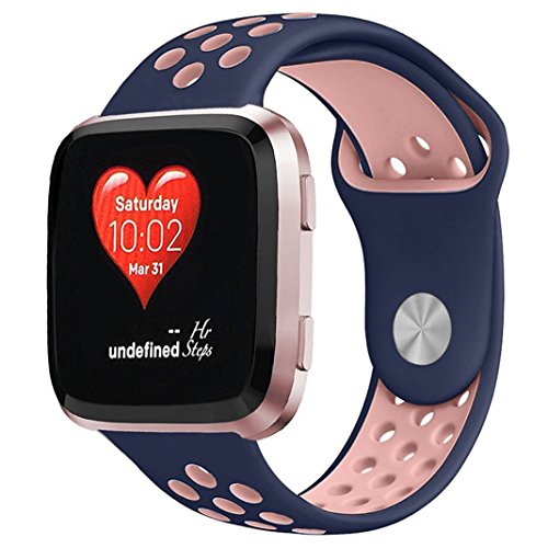 NO1seller Top Bands Compatible for Fitbit Versa Small Large, Soft Silicone Sport Strap with Ventilation Holes Replacement Wristband for Fitbit Versa Fitness Smart Watch Women Men