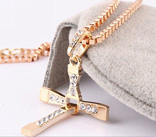 Btime Men Cross-Shaped Small Square Accumulation Pendant Necklace(golden)
