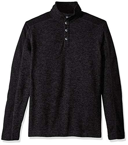 Van Heusen Men's Size Big and Tall Sweater Fleece Long Sleeve 1/4 Button Mock Neck, Black Blocked, Large