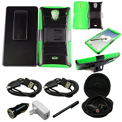 Mstechcorp - For Sharp Aqous Crystal 306SH Hybrid Hard Cover Belt Clip Holster With Stand - Includes [Car Charger Data Cable] + [Wall charger Data Cable] + [Touch Screen Stylus] + [Hands Free Earphone With Carrying Case] (HOLSTER GREEN)