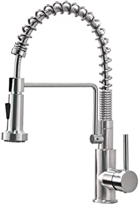 Friho Lead-Free Commercial Brushed Nickel Stainless Steel Single Handle Single Lever Pull Out Pull Down Sprayer Spring Bar Sink Kitchen Sink Faucet, Brushed Nickel Kitchen Faucets