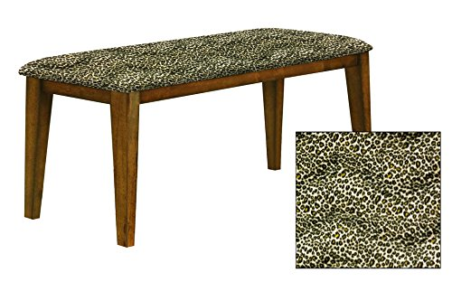 """Oak Finish 19"""" Tall Universal Bench Featuring a Padded Seat Cushion With Your Choice of an Animal Print Fabric Covered Seat Cushion (Cheetah Yellow Velboa) by The Furniture Cove"""