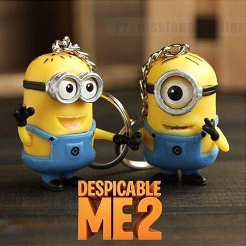 2Pcs New Despicable Me Minion Toy Keyring Key Chain Ring 3D Eyes Stuart + Jorge (Halloween 3 3d Trailer)