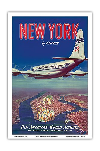New York USA by Clipper - Boeing 377 Over Manhattan Island - Pan American World Airways - Vintage Airline Travel Poster c.1950 - Master Art Print - 12in x 18in