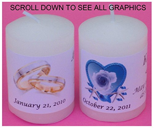 14 PERSONALIZED WEDDING FAVORS VOTIVE CANDLE LABELS STICKERS DECALS WRAPPERS