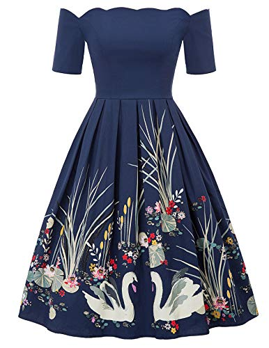 PAUL JONES Women's Retro Off Shoulder Dress Knee-Length Dress for Party Size S Black