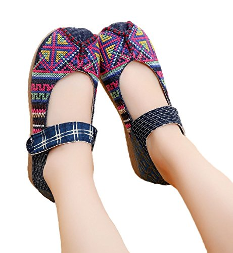 Toe Mary Wide Soojun Navy Jane Cross Shoes Espadrille Stitch Women's OYAEExqg