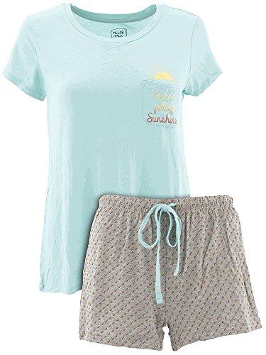 Pillow Talk Women's Pocket Sunshine Blue Short Pajamas M