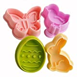 ZNU Easter Day Cake Cookie Decorating Cutters Fondant Sugarcraft Plunger Set Mold Tools