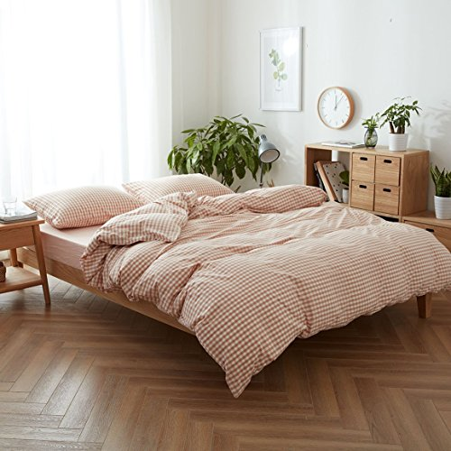 CLOTHKNOW Duvet Cover Sets Queen Peach Pink Checkered - 3 Pieces Girls Bedding Sets Full Reversible Gingham, 1 Washed Cotton Duvet Cover with Zipper Closure 2 Envelope Pillowcases Standard