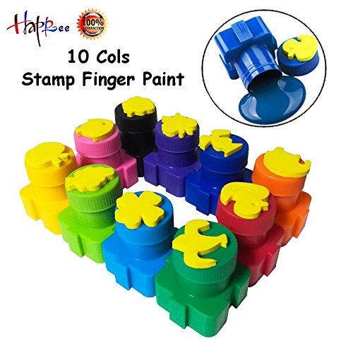 Happlee 10 Cols Washable Finger Paint for Toddlers, Kids Paint with Stamp, Eco-Friendly & Non Toxic 10x 20ml(0.68. fl.oz) (Tempera Paint Toxic)