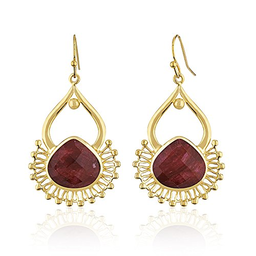 - 18K Gold-Plated India Inspired Red Simulated Ruby Gemstone Dangle Earrings
