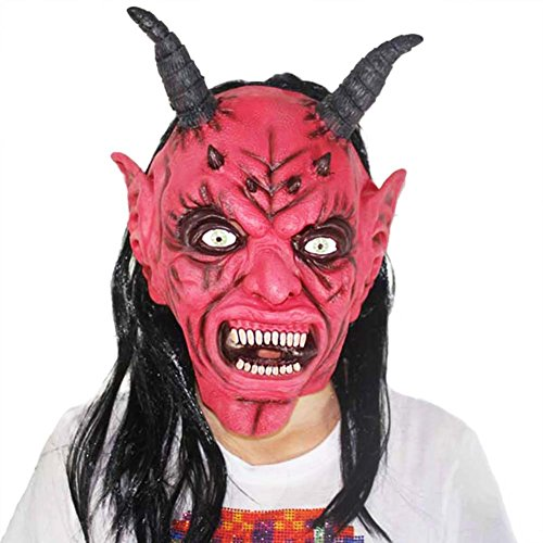 Scary Demon Face (Evil Scary Red Demon Mask,Frightening Full Face Latex Masks for Cosplay, Halloween, Masquerade and Party)