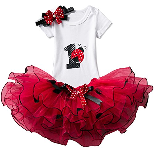 NNJXD Girl Ladybirds Tutu 1st ONE Birthday 3 Pcs Outfits Romper+Skirt+ Gold Headband Size (1) 1 Year Red (First Year Gift)