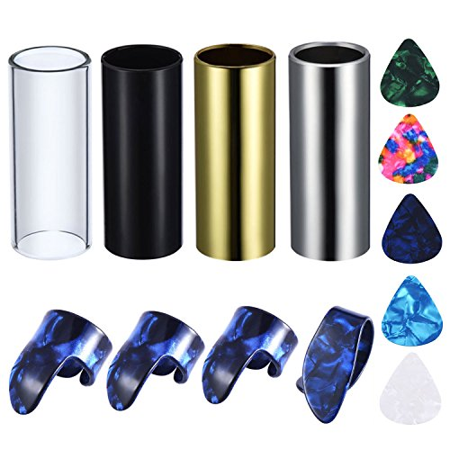 Guitar Steel Slide - Canomo 4 Pieces Medium Guitar Slides(Include 3 Colors Stainless Steel, 1 Pieces Glass), 5 Pieces Guitar Picks and 4 Pieces Plastic Thumb & Finger Picks in Metal Box