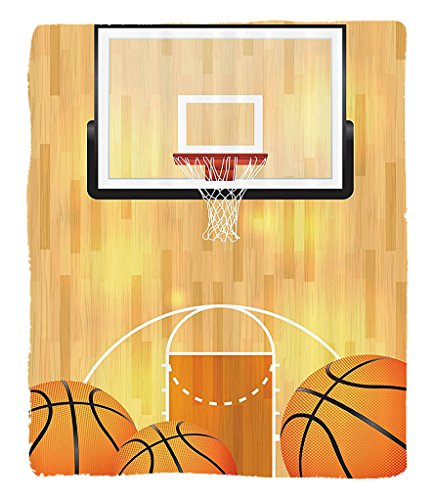 Chaoran 1 Fleece Blanket on Amazon Super Silky Soft All Season Super Plush Sports Decor Collection Basketball Court Ball Hoop Madness Rim Court Parquet Hardwood Picture Print Fabric Ivory Orange by chaoran