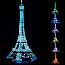3D Eiffel Tower Lamps, 3D Night Lights, LED Night Lamps Amazing Optical Illusion lamp Gift for Kids Decorative Lamp 7 Color Changing Table Lamp