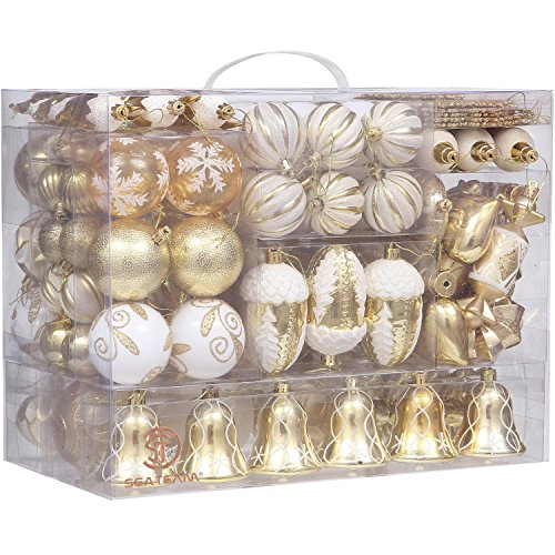Sea Team 155-Pack Assorted Shatterproof Christmas Ball Ornaments Set Decorative Baubles Pendants with Reusable Hand-held Gift Package for Xmas Tree - White 2017 Decorations Tree Christmas