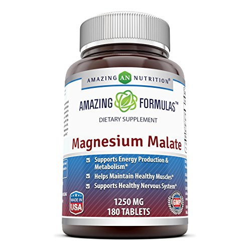 425 Tablet Mg (Amazing Nutrition Magnesium Malate - 1250 mg per serving, 180 Tablets - Supports Energy Production, Healthy Metabolism, Muscles Function & Nerve Function*)