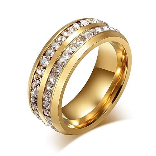 Aokarry Women's Promise Engagement Wedding Rings 2 Rows Cubic Zirconia Inlaid Gold Plated Polished Inside Comfort Fit Size 8