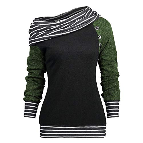GOVOW Button Sweatshirt Cardigan for Women Skew Neck Long Sleeve Striped Patchwork Top(US:6/CN:M,Green) ()