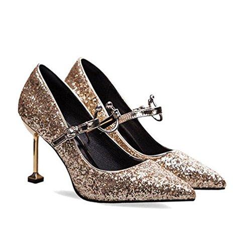 hauts pointu talons talons robe femmes Chaussures verrouillage de chaussures de WSK à chaussures avec des brique mariage boucle gold chaussures chaussures à fins en pierre u YwOqnZ