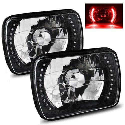 7x6 H6052/H6054 Semi-Sealed Beam Black Diamond Red LED Headlights (1981 Ford F100)