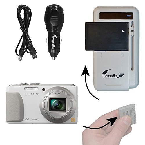 Gomadic Compact Multi External Battery Charge System designed for the Panasonic Lumix DMC-ZS30W. USB, Car and Wall charging connections by Gomadic