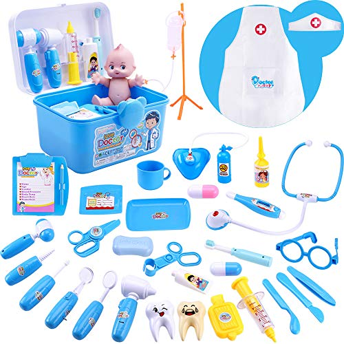 iPlay, iLearn 34 Piece Deluxe Kids Pretend Play Doctor n Dentist Toy Set, Medical Kit w/ Doll, Electronic Stethoscope, Roleplay Costume, Birthday Gift for 3, 4, 5, 6 Year Olds, Toddlers, Boys , Girls