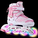 WeSkate Kids/Adults Full Illumination Wheels Breathable Mesh Inline Skates Aluminum Frame Adjustable Sizes Roller Skates Three Sizes UK11J-1/ UK1-4/ UK4-7 (Pink, UK 1-4)