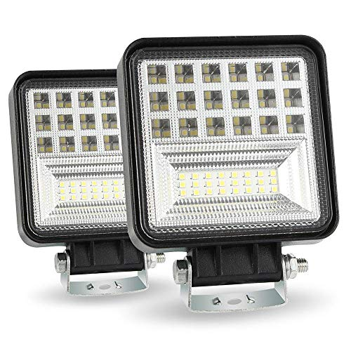 126 Lamp - FOONEE 126W LED Work Lamp 42 LED Chip DRL Flood Beam Light SUV Truck UTE 6 Rows 12600LM 12V-36V Projector for Boat Wharf Working Lamp Searchlight Spotlight Pods Fog Lamp IP67 (2 Pcs)