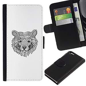 KLONGSHOP // Tirón de la caja Cartera de cuero con ranuras para tarjetas - oso minimalista del arte del lápiz blanco negro - Apple Iphone 6 //