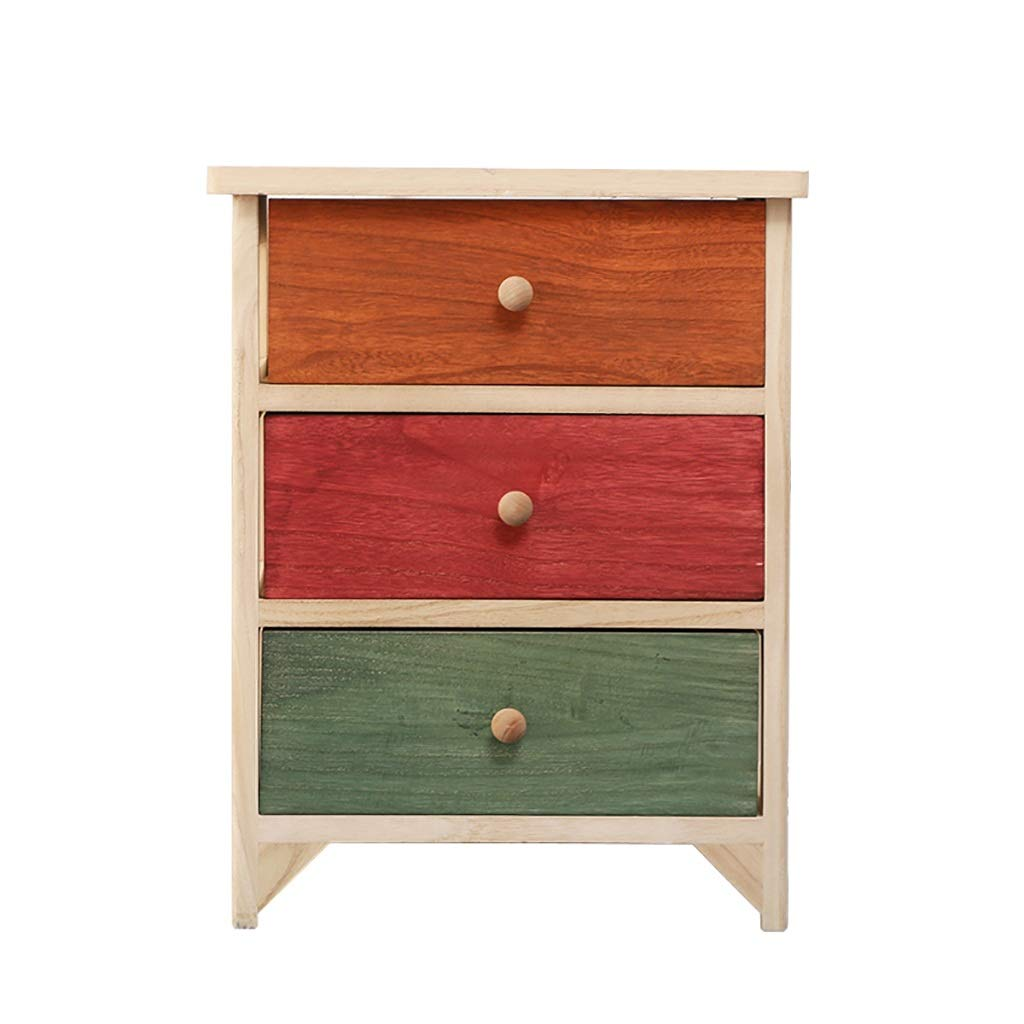 D Bedside Table, Solid Wood Environmentally Friendly Paint-Free color Bedside Table, Available in A Variety of colors (color   E)