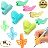 #5: Pencil Grips, JuneLsy Pencil Grips for Kids Handwriting Silicone Pencil Grip Posture Correction Training Writing Aids for Apple Pencil for Kids Adults Students Special Needs Assorted Colors ( 10PCS )